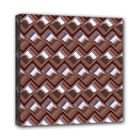 Metal Weave Pink Mini Canvas 8  x 8