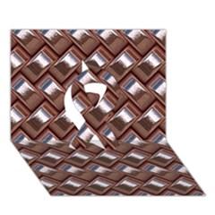 Metal Weave Pink Ribbon 3D Greeting Card (7x5)