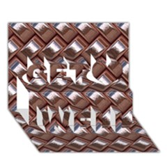 Metal Weave Pink Get Well 3D Greeting Card (7x5)
