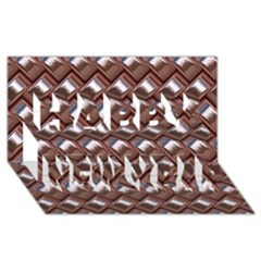 Metal Weave Pink Happy New Year 3d Greeting Card (8x4)