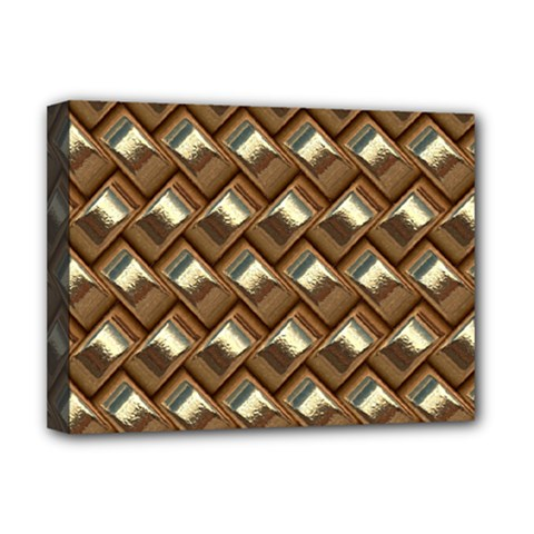 Metal Weave Golden Deluxe Canvas 16  x 12