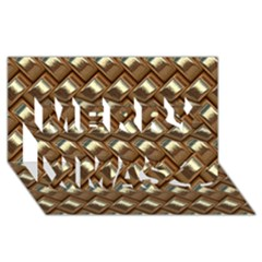 Metal Weave Golden Merry Xmas 3D Greeting Card (8x4)