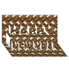 Metal Weave Golden Happy New Year 3d Greeting Card (8x4)
