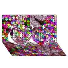 Artistic Cubes 3 Twin Hearts 3D Greeting Card (8x4)