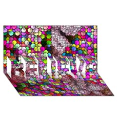 Artistic Cubes 3 BELIEVE 3D Greeting Card (8x4)
