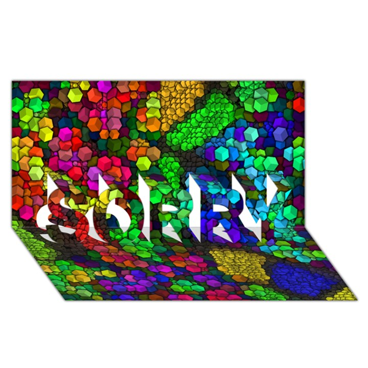 Artistic Cubes 4 SORRY 3D Greeting Card (8x4)