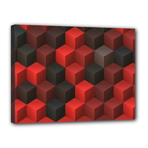 Artistic Cubes 7 Red Black Canvas 16  x 12