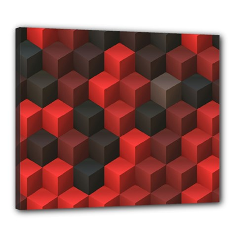 Artistic Cubes 7 Red Black Canvas 24  x 20