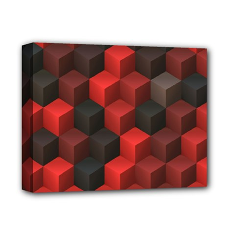 Artistic Cubes 7 Red Black Deluxe Canvas 14  x 11