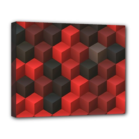 Artistic Cubes 7 Red Black Deluxe Canvas 20  x 16