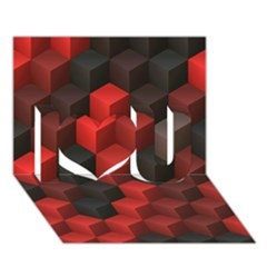 Artistic Cubes 7 Red Black I Love You 3d Greeting Card (7x5)