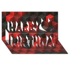 Artistic Cubes 7 Red Black Happy Birthday 3D Greeting Card (8x4)