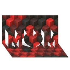 Artistic Cubes 7 Red Black MOM 3D Greeting Card (8x4)