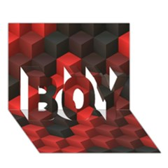 Artistic Cubes 7 Red Black BOY 3D Greeting Card (7x5)