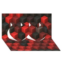 Artistic Cubes 7 Red Black Twin Hearts 3d Greeting Card (8x4)