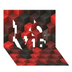 Artistic Cubes 7 Red Black LOVE 3D Greeting Card (7x5)