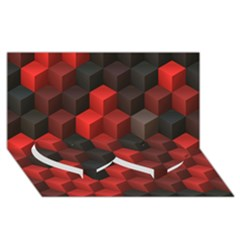 Artistic Cubes 7 Red Black Twin Heart Bottom 3D Greeting Card (8x4)