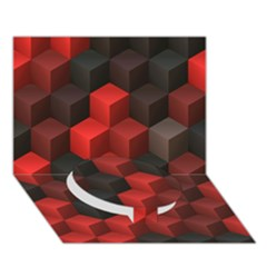 Artistic Cubes 7 Red Black Circle Bottom 3D Greeting Card (7x5)