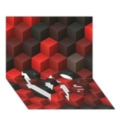 Artistic Cubes 7 Red Black Love Bottom 3d Greeting Card (7x5)
