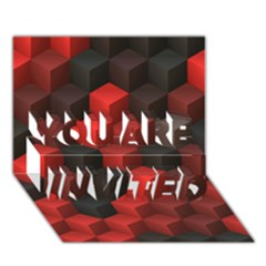 Artistic Cubes 7 Red Black You Are Invited 3d Greeting Card (7x5)