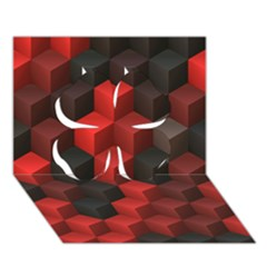 Artistic Cubes 7 Red Black Clover 3D Greeting Card (7x5)