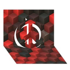 Artistic Cubes 7 Red Black Peace Sign 3D Greeting Card (7x5)