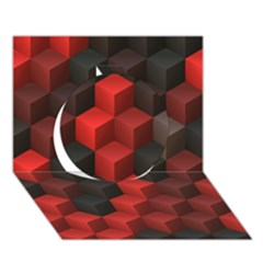 Artistic Cubes 7 Red Black Circle 3D Greeting Card (7x5)