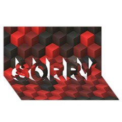 Artistic Cubes 7 Red Black Sorry 3d Greeting Card (8x4)