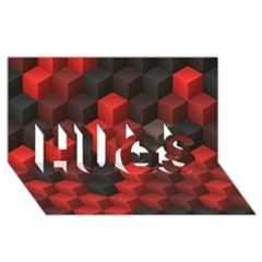 Artistic Cubes 7 Red Black HUGS 3D Greeting Card (8x4)