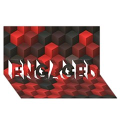 Artistic Cubes 7 Red Black ENGAGED 3D Greeting Card (8x4)