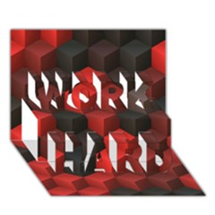 Artistic Cubes 7 Red Black Work Hard 3d Greeting Card (7x5)