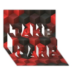 Artistic Cubes 7 Red Black Take Care 3d Greeting Card (7x5)
