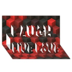 Artistic Cubes 7 Red Black Laugh Live Love 3D Greeting Card (8x4)