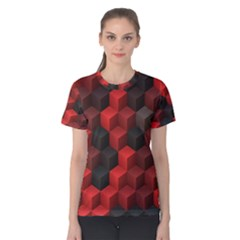 Artistic Cubes 7 Red Black Women s Cotton Tees