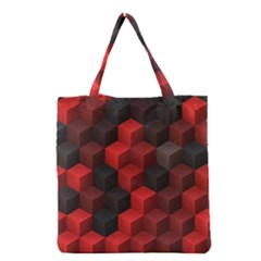 Artistic Cubes 7 Red Black Grocery Tote Bags