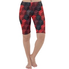Artistic Cubes 7 Red Black Cropped Leggings