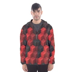 Artistic Cubes 7 Red Black Hooded Wind Breaker (Men)