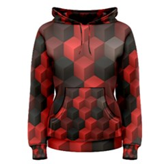 Artistic Cubes 7 Red Black Women s Pullover Hoodies