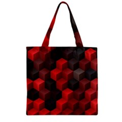 Artistic Cubes 7 Red Black Zipper Grocery Tote Bags