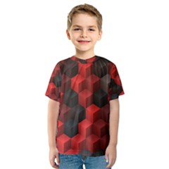 Artistic Cubes 7 Red Black Kid s Sport Mesh Tees