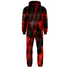 Artistic Cubes 7 Red Black Hooded Jumpsuit (men)