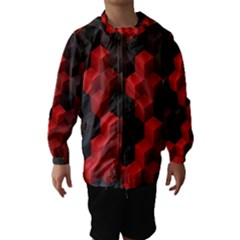 Artistic Cubes 7 Red Black Hooded Wind Breaker (kids)