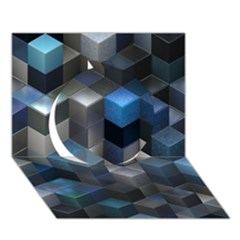 Artistic Cubes 9 Blue Circle 3D Greeting Card (7x5)