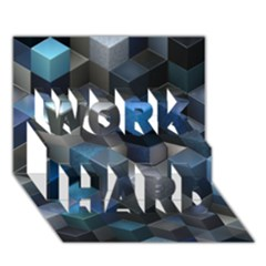 Artistic Cubes 9 Blue Work Hard 3d Greeting Card (7x5)