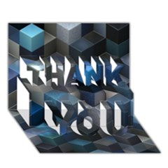 Artistic Cubes 9 Blue Thank You 3d Greeting Card (7x5)