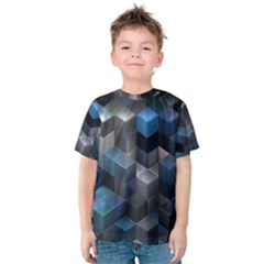 Artistic Cubes 9 Blue Kid s Cotton Tee