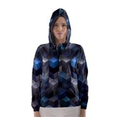 Artistic Cubes 9 Blue Hooded Wind Breaker (Women)