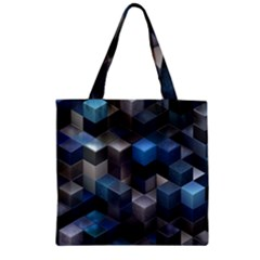 Artistic Cubes 9 Blue Zipper Grocery Tote Bags