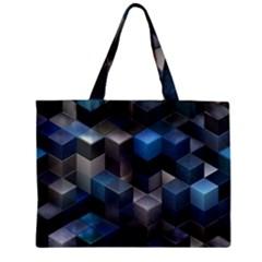 Artistic Cubes 9 Blue Zipper Tiny Tote Bags
