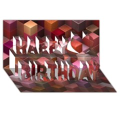 Artistic Cubes 9 Pink Red Happy Birthday 3D Greeting Card (8x4)